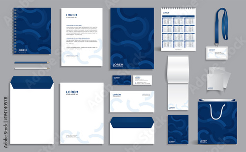 Fotografia Blue corporate identity design template with abstract geometric background