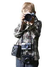 Child Boy Photographer With Ma...