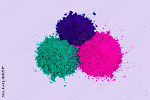 Holi colors powder pink purple green