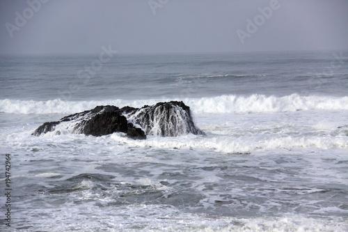 Tuinposter Koraalriffen Ocean waves crash over boulder in high-contrast shot.on overcast day
