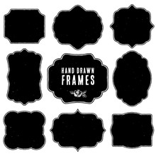 Set Of Vintage Blank Frames And Labels. Hand Drawn Vector Illustration. Vol.3