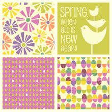 Set Of Spring Designs And Seamless Patterns Including Floral, Birds, Easter Eggs, Raindrops. Cheerful Coordinating Elements For  Banners, Cards, Backgrounds And Decor.