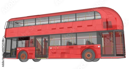 Fotografie, Tablou  A double-decker bus, a translucent casing under which many interior elements and internal bus parts are visible