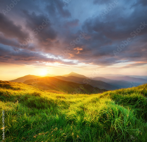 Poster Texas Mountain valley during sunrise. Beutiful natural landsscape in the summer time.