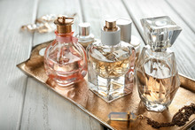 Metal Tray With Perfume Bottle...