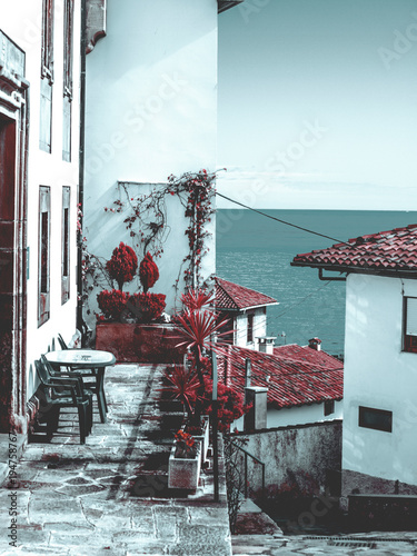 Láminas  Vistas al mar desde Lastres. Asturias