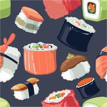 Sushi Pattern Vector Illustrat...