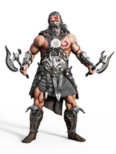 Fierce Armored Barbarian Warri...