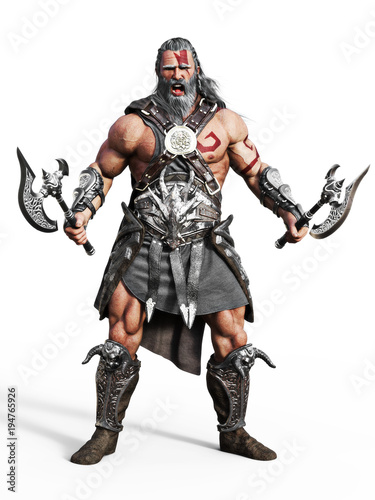 Photo  Fierce armored barbarian warrior ready for battle on an isolated white background