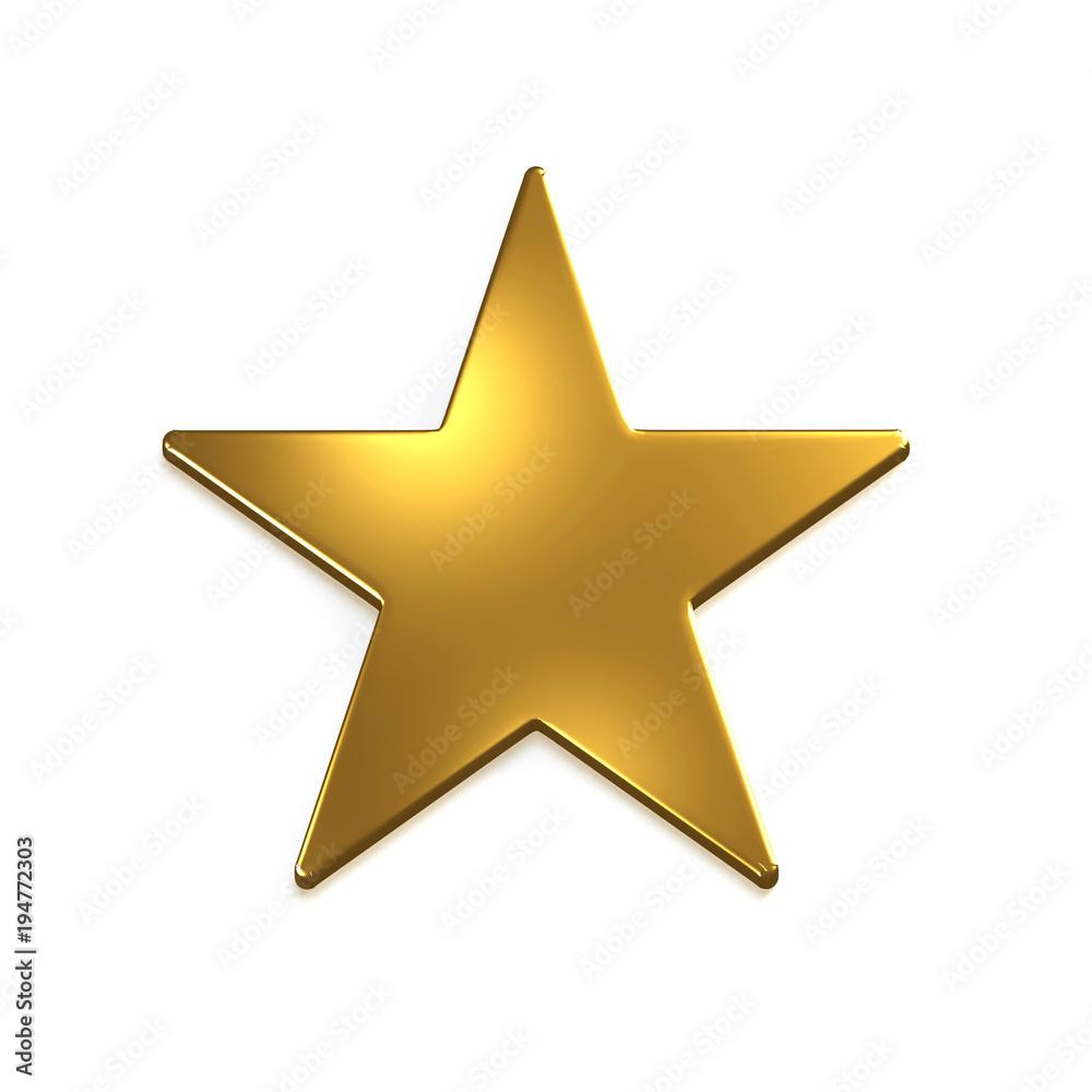 Fototapety, obrazy: Gold Star Icon. 3D Gold Render Illustration