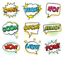 Retro Comic Speech Bubbles Set On White Background. Expression Text OMG, NO, COOL, HELLO, LIKE, YEAH, WOW, POW, OUCH. Vector Illustration, Pop Art Style.
