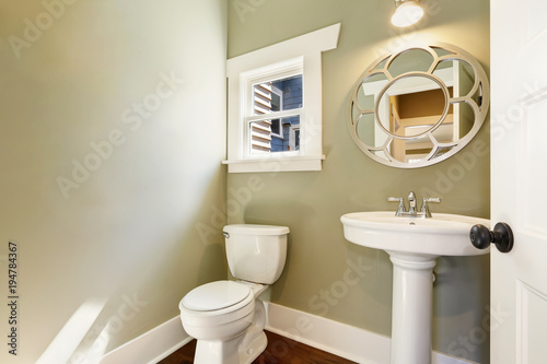 Fotografie, Obraz  Green light filled half bath with a pedestal washstand