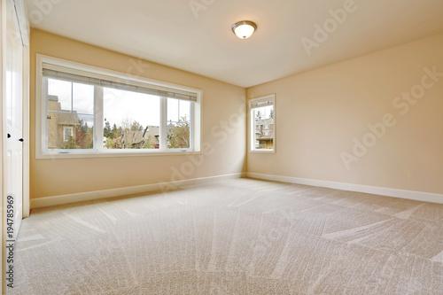Light Empty Bedroom Interior In Soft Beige Tones Buy This Stock