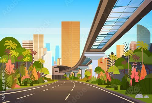 Autostrady droga miasto linia horyzontu Z Nowożytnymi drapaczami chmur I Kolejową pejzażu miejskiego Przeglądamy Wektorową ilustrację
