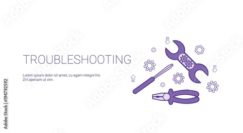 Fotografía  Troubleshooting Service Concept Template Web Banner With Copy Space Vector Illus
