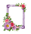 Purple asters and pink rose flowers with eucalyptus leaves in a corner arrangements with ribbon frame