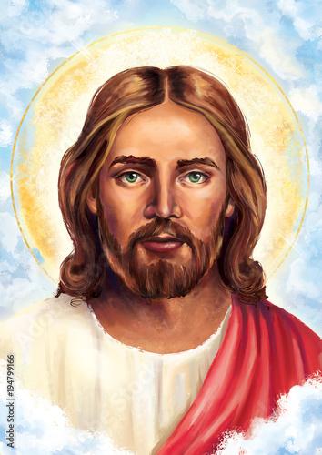 Jesus Christ Portrait Illustration In Clouds Oil Painting
