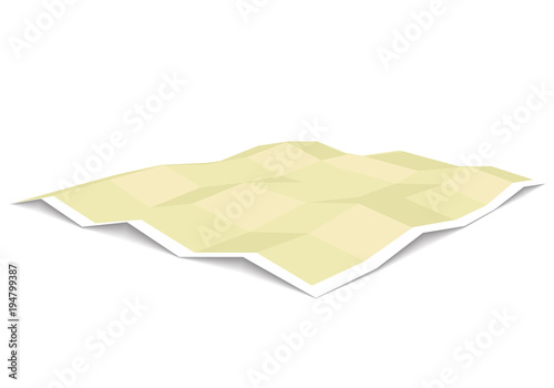 Fotografia  Blank unfolded paper map template three dimensional perspective