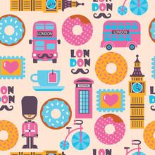 London Tea Time Childish Carto...