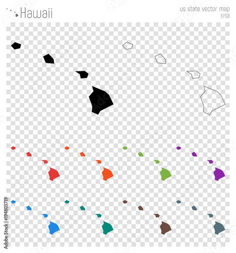 Hawaii high detailed map. Us state silhouette icon. Isolated Hawaii ...