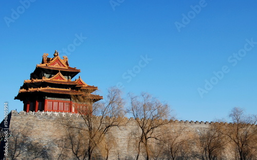 Walls of Forbidden City from the outside, the city center of Beijing, China Tablou Canvas