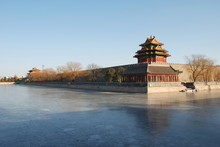 Walls Of Forbidden City In Winter, The City Center Of Beijing, China