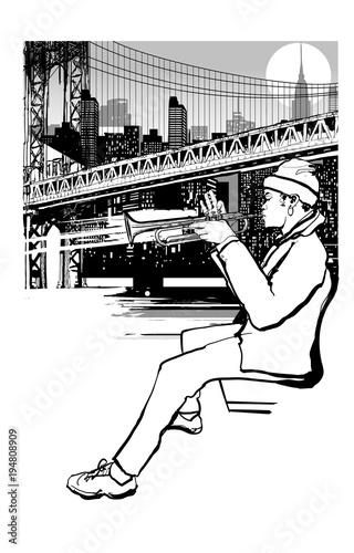 Tuinposter Art Studio Trumpet player in New York (Brooklyn)