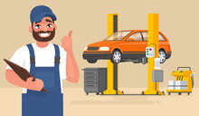 Service And Repair Of The Car. Automechanic On The Background Of The Car On The Lift. Vector Illustration