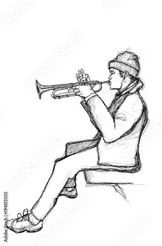Tuinposter Art Studio Sketch of a trumpet player