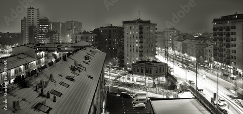 Milano Con La Neve In Bianco E Nero Buy This Stock Photo And