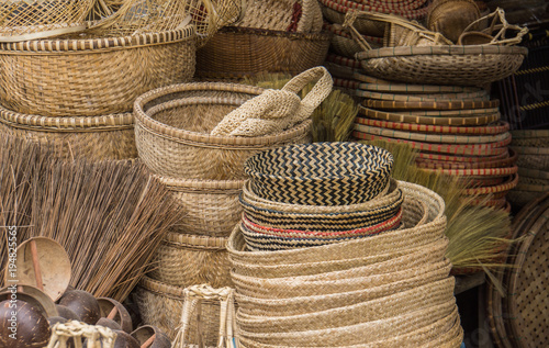 Foto baskets for sale in the market