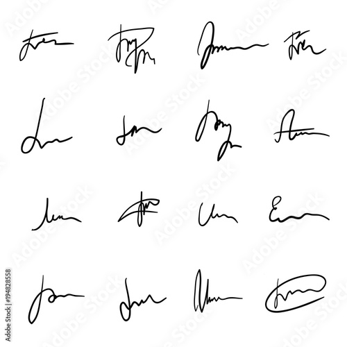 Photo Set of unique black hand drawn sprawling signatures