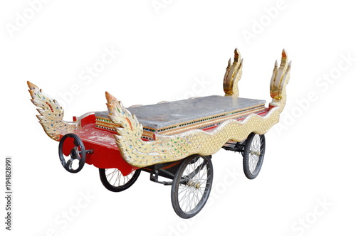 Fotografie, Obraz  Thai coffin cart in funeral ceremony on white background