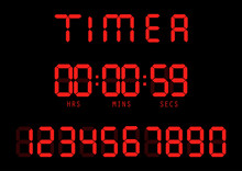 Vector. Electronic Timer, Fluorescent Digital Display With Digital Numbers.