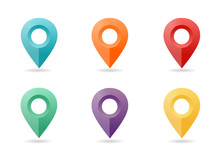 Map Pin Flat Design Style. Icon Set