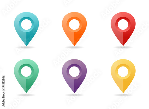 Fototapeta Map pin flat design style. Icon set