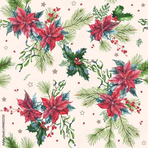 recznie-rysowane-akwarela-bezszwowe-wakacje-wzor-z-roznych-kwiatow-lisci-i-jagody-poinsettia-powtarzajace-sie-tlo