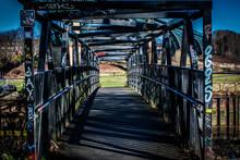 Metal Foot Bridge With Graffiti