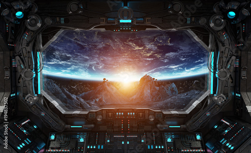 Deurstickers Nasa Spaceship grunge interior with view on planet Earth