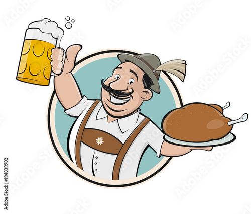 bavarian man with beer and chicken sign Fototapete