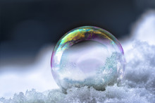 Soap Bubble With Rainbow Reflections In The Snow, Winter Still Life With Dark Background And Copy Space