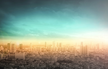 World environment day concept: Big city skyline with urban skyscrapers at autumn sunset background