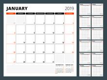 Calendar Planner For 2019 Year. Stationery Design Template. Week Starts On Sunday. Set Of 12 Months. Vector Illustration