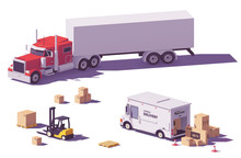 Vector Low Poly Trucks And For...