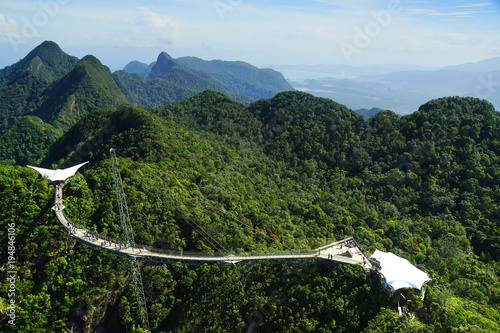 Poster Khaki Langkawi Sky Bridge seen from the cablecar view point. Langkawi Island, Malaysia