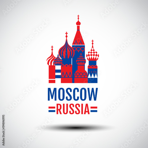 Obraz logo design , vector icon, sign, Symbol,The Most Famous cathedral In Moscow, Saint Basil's Cathedral, Russia. - fototapety do salonu