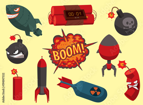 Tablou Canvas Bomb vector dynamite fuse illustration grenade attack power ball burning detonation explosion fire military destruction design aggression