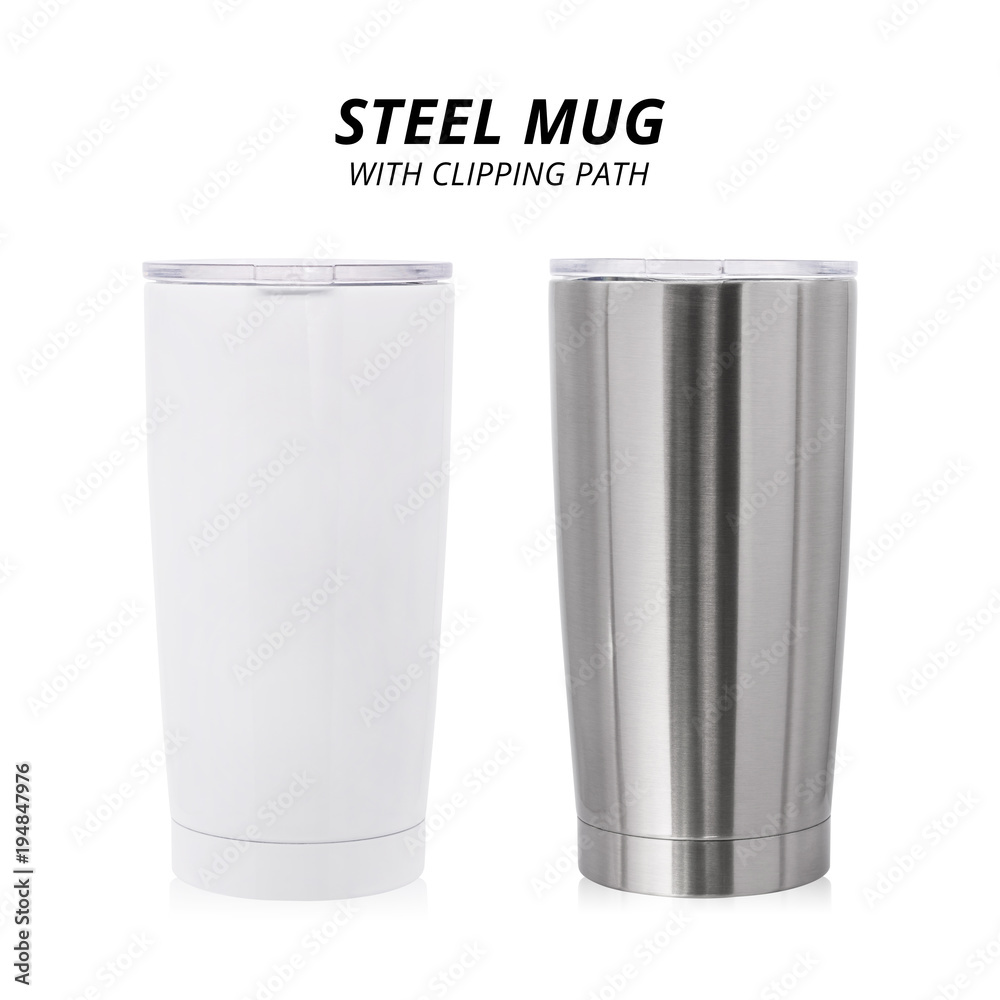 Fototapeta Steel mug isolated on white background. Template of water container for design. ( Clipping path )