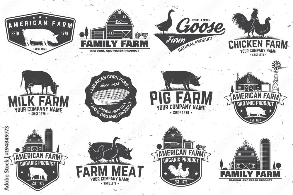 Fototapeta American Farm Badge or Label. Vector illustration.