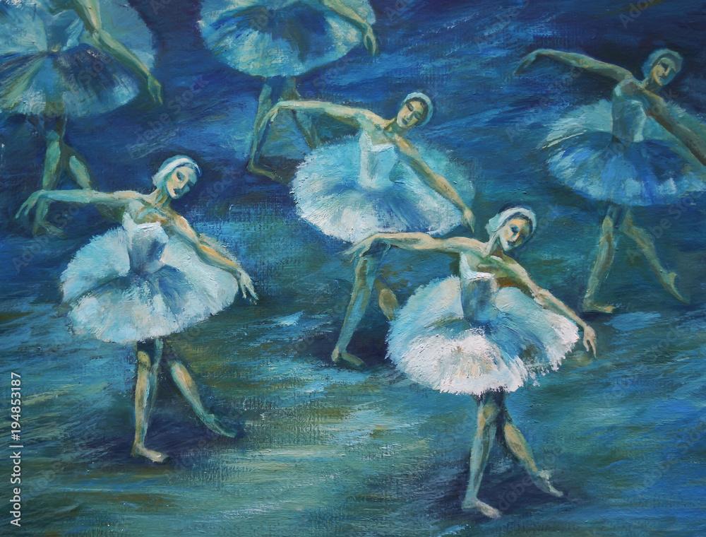 Fototapeta ballet Painting Acrylic and Full spectrum on Cardboard